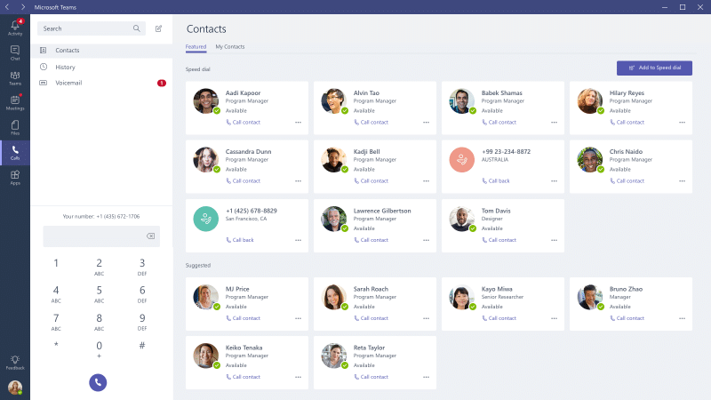 capture écran microsoft teams pour appeler contacts