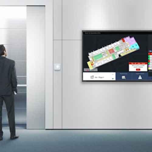 Ecran d'orientation dans couloirs entreprises groompad de sharing cloud